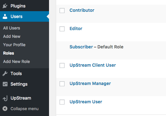 Editing user roles in UpStream