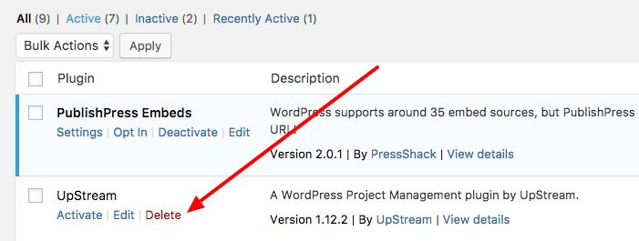 Uninstalling the UpStream plugin