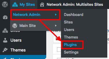 Plugins link in the WordPress network admin