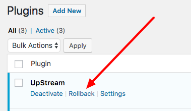 rolling back a WordPress plugin with WP Rollback