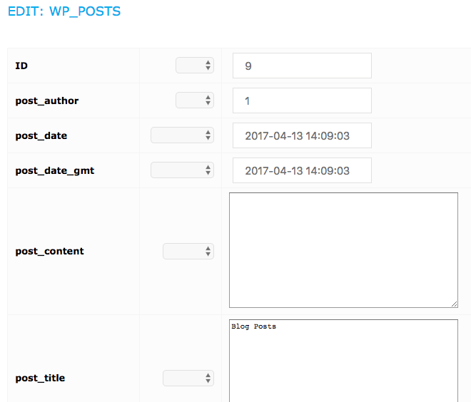wp_posts table with projects in the UpStream database