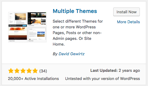Multiple themes plugin for WordPress