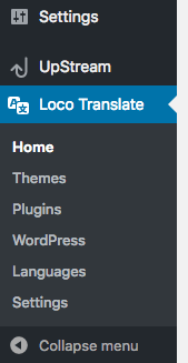 Loco Translate plugin menu