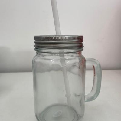 Caneca de Vidro Mason Jar Cristal para Sublimação com Tampa e Canudo Branco - 475ml