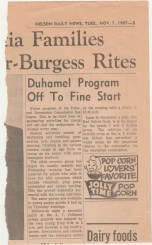 Duhamel Recreation Commission article Nelson Daily News Nov 7, 1967 -P. Ormond files