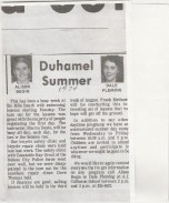 Duhamel Recreation Commission article Nelson Daily News Summer 1974 -P. Ormond files