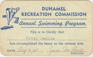 Duhamel Recreation Commission swimming lessons certification, 1967 - Patsy Ormond Files