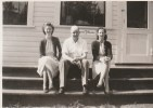 Margaret MacDonald, Bill and Jeanne VanManen on steps of the store 1950 photo credit - Patsy Ormond