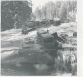 Bridge wash-out. Duhamel Creek 1956 - Fred &  Audrey Heddle Collection