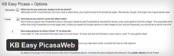 the kb easy picasa web plugin header