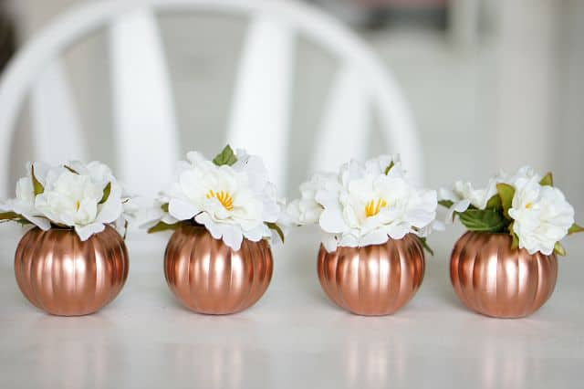 Copper Pumpkins Fall Centerpiece by Up to Date Interiors