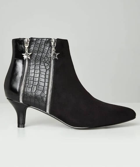 Black pointed toe boot with slender 6cm heel by Joe Browns. Suedette is paired with a snakeskin effect side panel and 2 zips with star shaped charms.