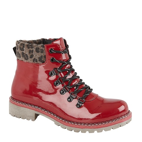 Comfortable red patent lace up ankle boot with leopard print trim around the ankle