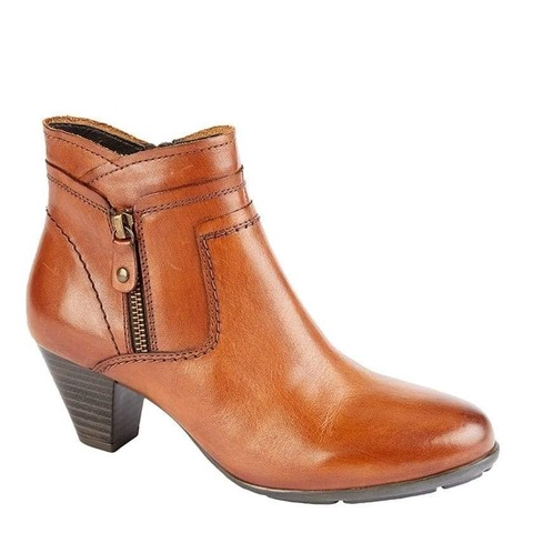 Tan leather heeled ankle boot with side zip fastening