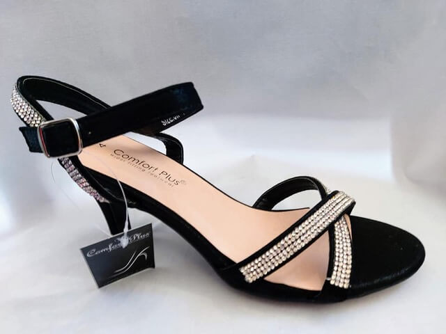 Comfort Plus black heeled sandal. Has crossover front straps and heel straps with diamante detailing