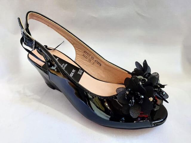 Comfort Plus black wedge sandal with flower detail to front