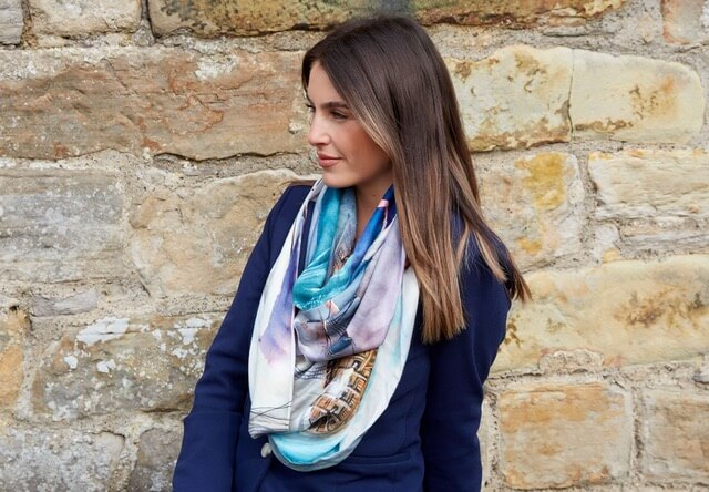 Earth Squared snood style scarf with light blue and white design