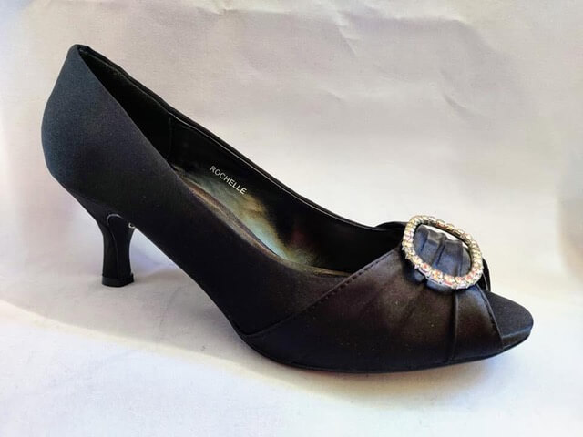 Lunar black heeled court shoe. Has open toe with pleated detail and diamante accent