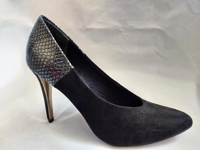 Marco Tozzi black suede high heeled court shoe with croc design on heel