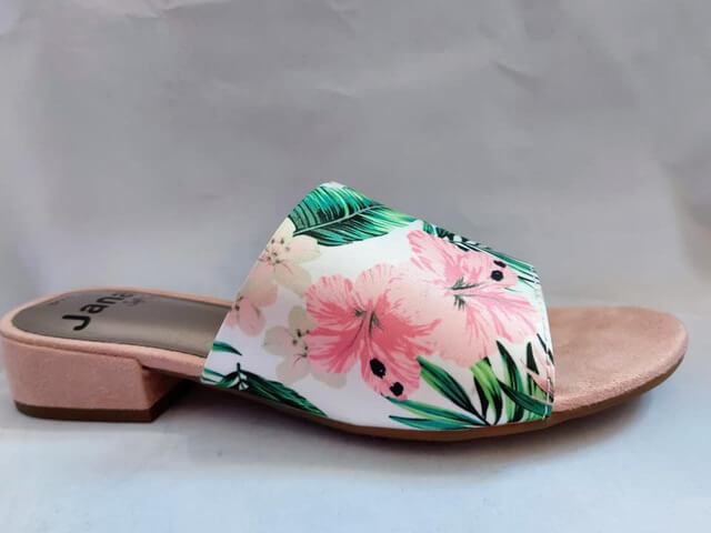 Jana tropical flower print mule with suede detail to heel and front of shoe