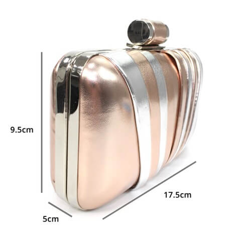 Lunar Bryce rose gold and silver contrast clutch bag. The dimensions are shown as 17.5cm x 9.5cm x 5cm
