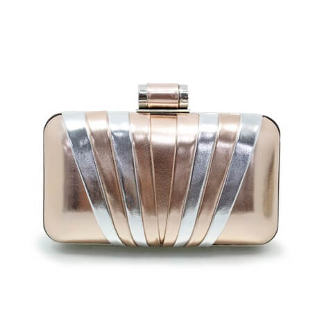 Lunar Bryce rose gold and silver contrast clutch bag