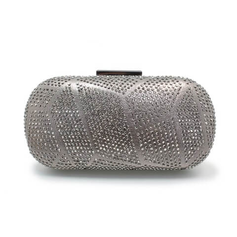 Lunar Francie pewter bag shown from front view. The front has a patterned diamante body