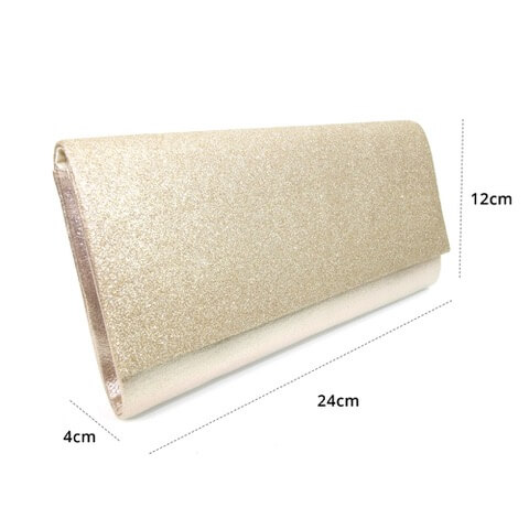 Lunar Joelle gold coloured clutch bag. Finished in metallic leather with glitter effect flap. The dimensions are shown as 24cm x 12cm x 4cm