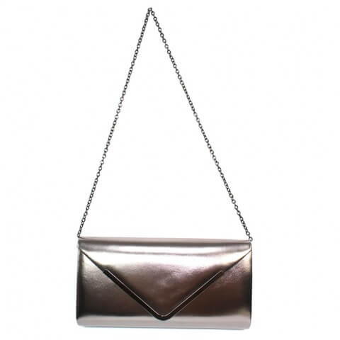 Lunar pewter patent envelope shaped clutch bag with chain