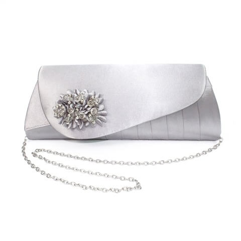 Lunar Sabrina handbag in silver grey colour. It has a sequined corsage on the flap