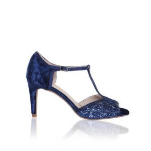Perfect Bridal sandal in navy soft crushed velvet at the heel and matching glitter across the toes