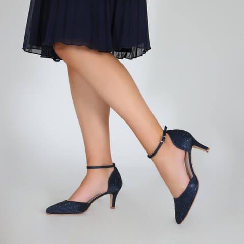 Perfect Bridal d'Orsay navy court shoe with multi-sized gemstones applied all over, finished with a stylish almond toe