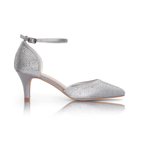 Perfect Bridal d'Orsay silver court shoe with multi-sized gemstones applied all over, finished with a stylish almond toe