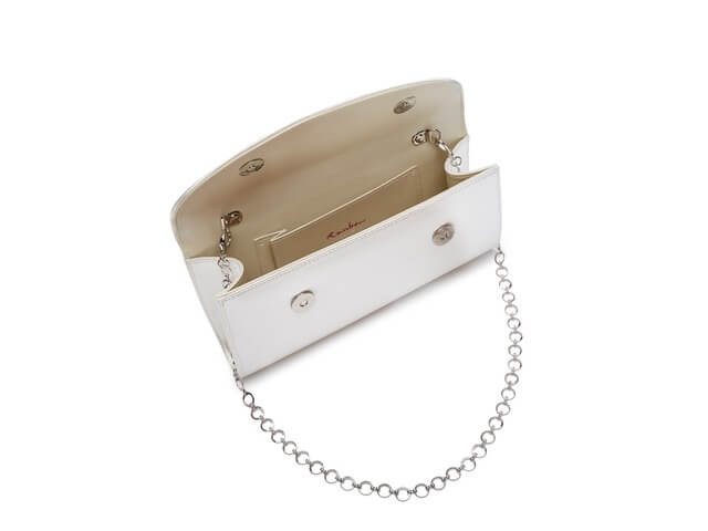 Rainbow Club Celina clutch bag. The bag is finished in ivory satin and is a rectangular shape with a curved fold over front