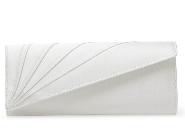 Rainbow Club Tess clutch bag. The bag is finished in ivory satin and features a fold over front with asymmetric pleating detail