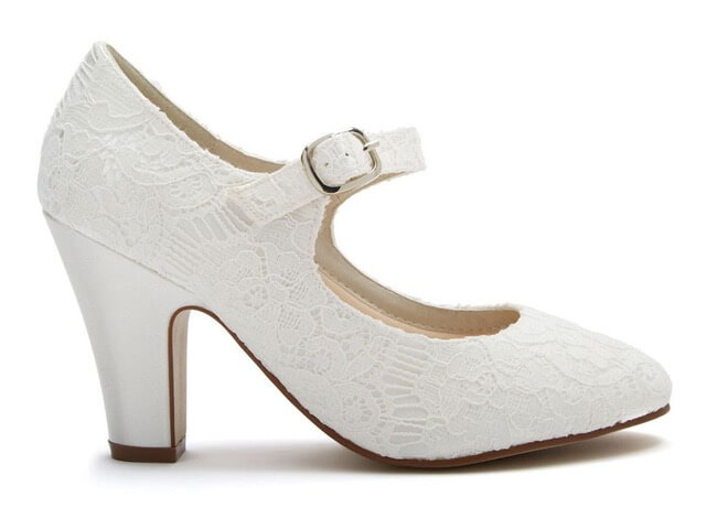 Rainbow Club Madeline ivory lace bridal shoe. Features a chic almond toe, a comfortable but shapely block heel and an ankle strap with stylish silver buckle
