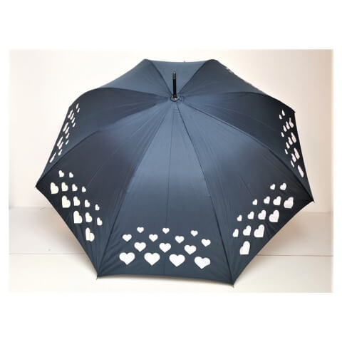 Superbia colour changing navy umbrella with love-hearts design