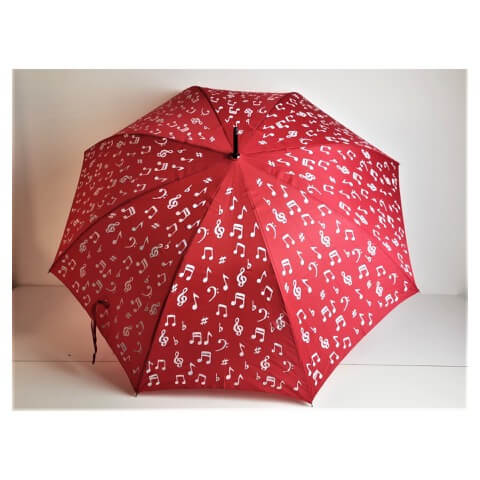 Superbia colour changing red umbrella with musical notes design