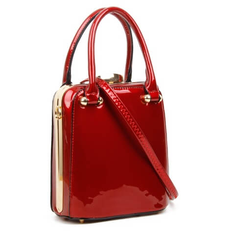 Superbia red patent clasp top bag