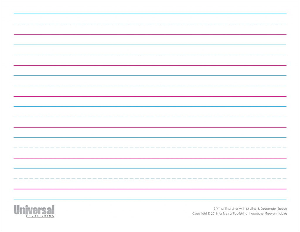 Writing Lines Color Horizontal Three Quarter Inch