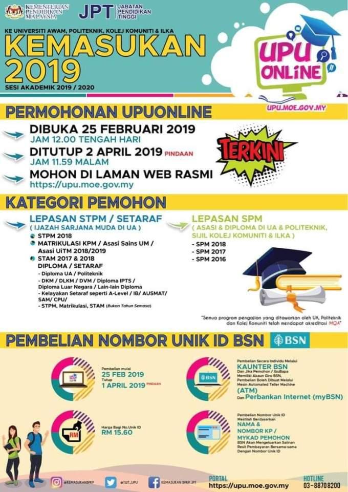 Tarikh Beli No Pin UPU 2019-2020 Terkini