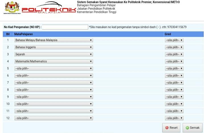 eSemak Sistem Semakan Syarat Kemasukan Politeknik Online
