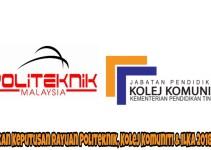 Semakan Keputusan Rayuan Politeknik, Kolej Komuniti & ILKA 2018 Online