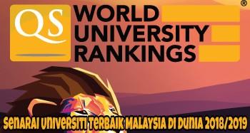 Senarai Universiti Terbaik Malaysia di Dunia 2018/2019 (QS World Ranking)