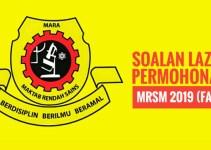 Soalan Lazim Permohonan MRSM 2019 (FAQ)