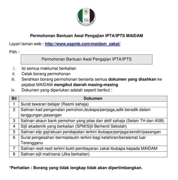 Permohonan Bantuan Awal Pengajian Ipta Ipts Maidam 2020 Borang