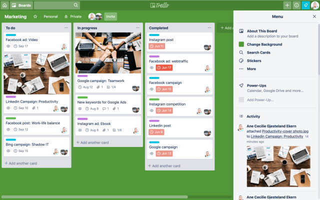 Trello board - before export