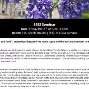 SEES Seminar June 2nd on the built environment and music scenes
