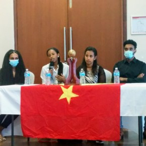 Tmnit Halefom Hailu on public panel discussing the ongoing war in Tigray, Ethiopia