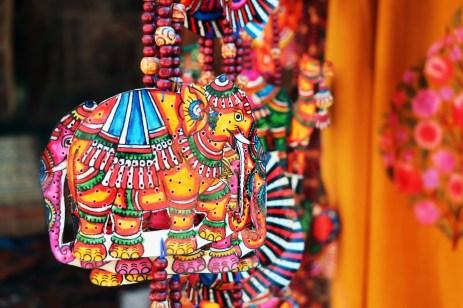 Hanging elephant decorations.